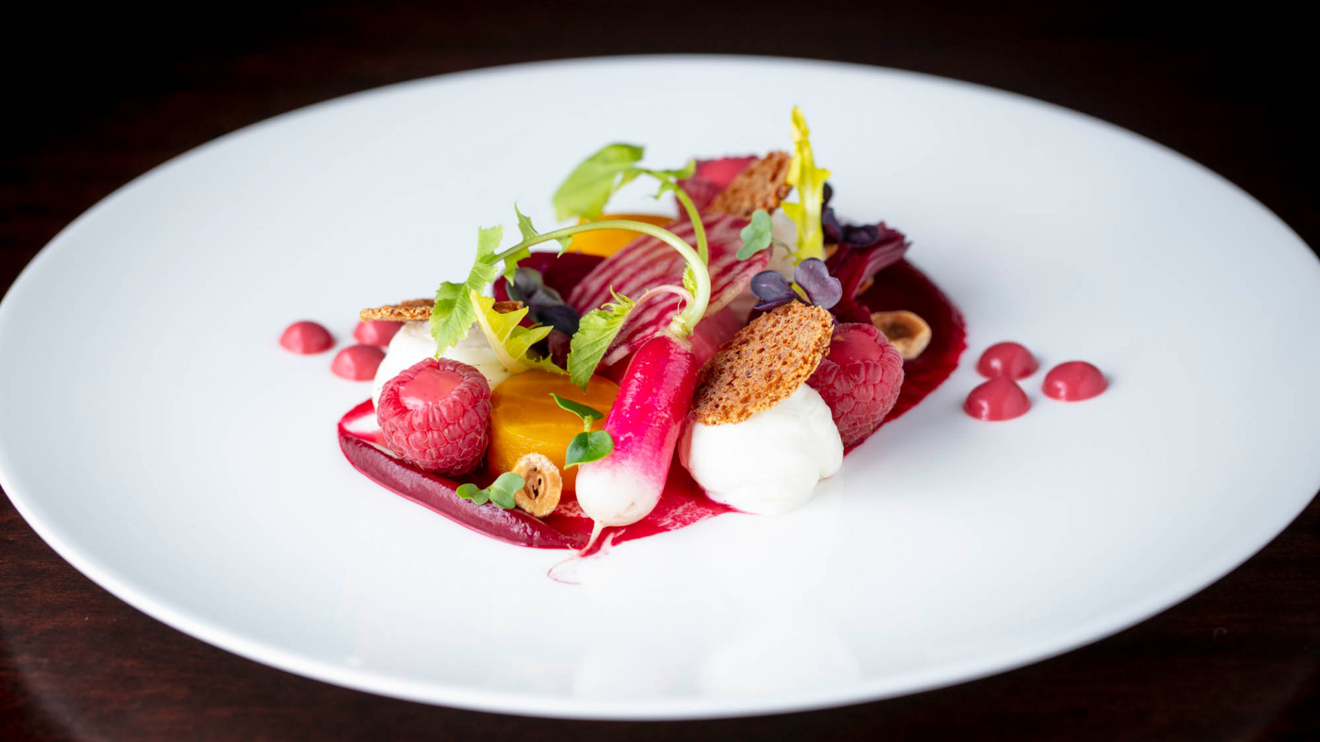 Heritage beetroot & whipped goats' cheese salad with raspberry and gingerbread crisp