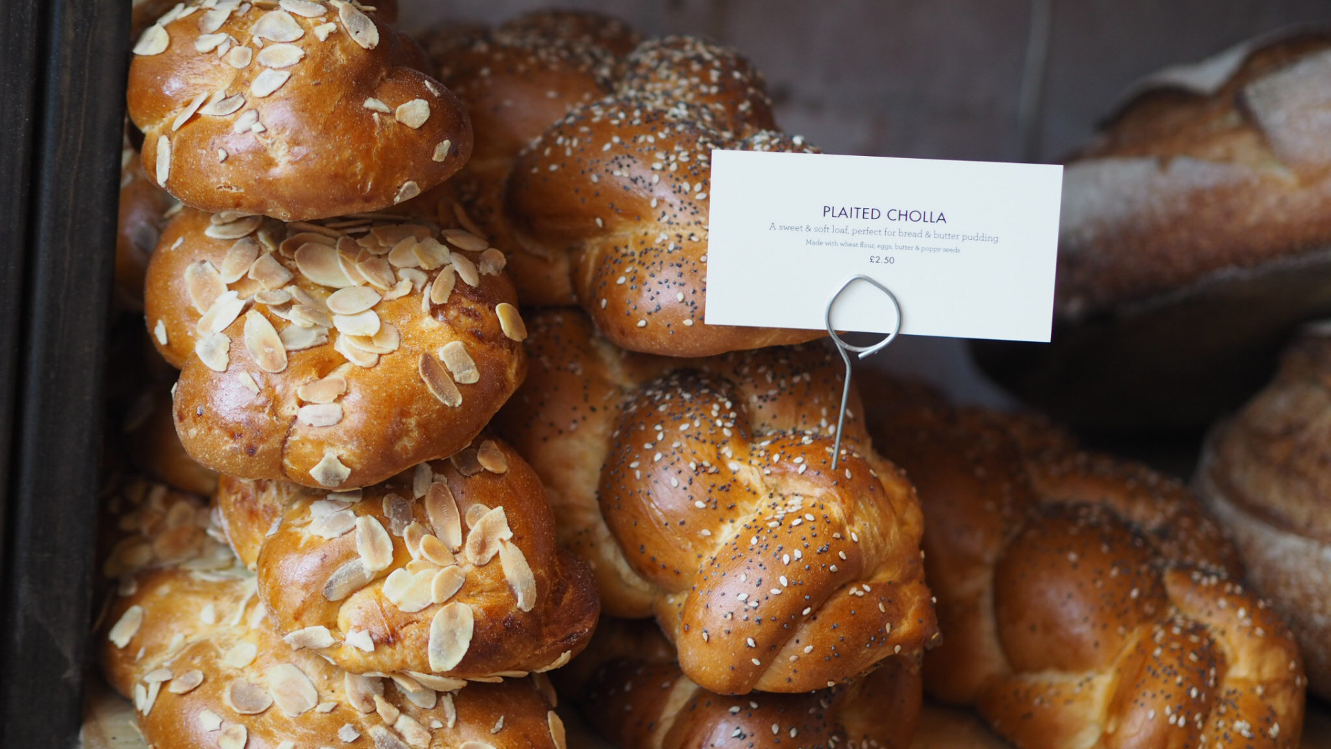 Marzipan challah and plaited challah bread from GAIL's Bakery