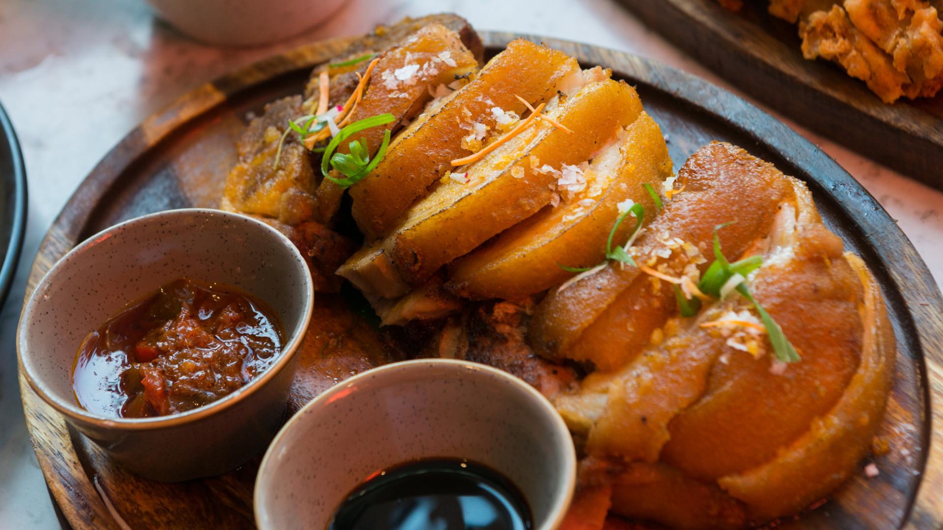 Crispy pata at Romulo Café, Kensington