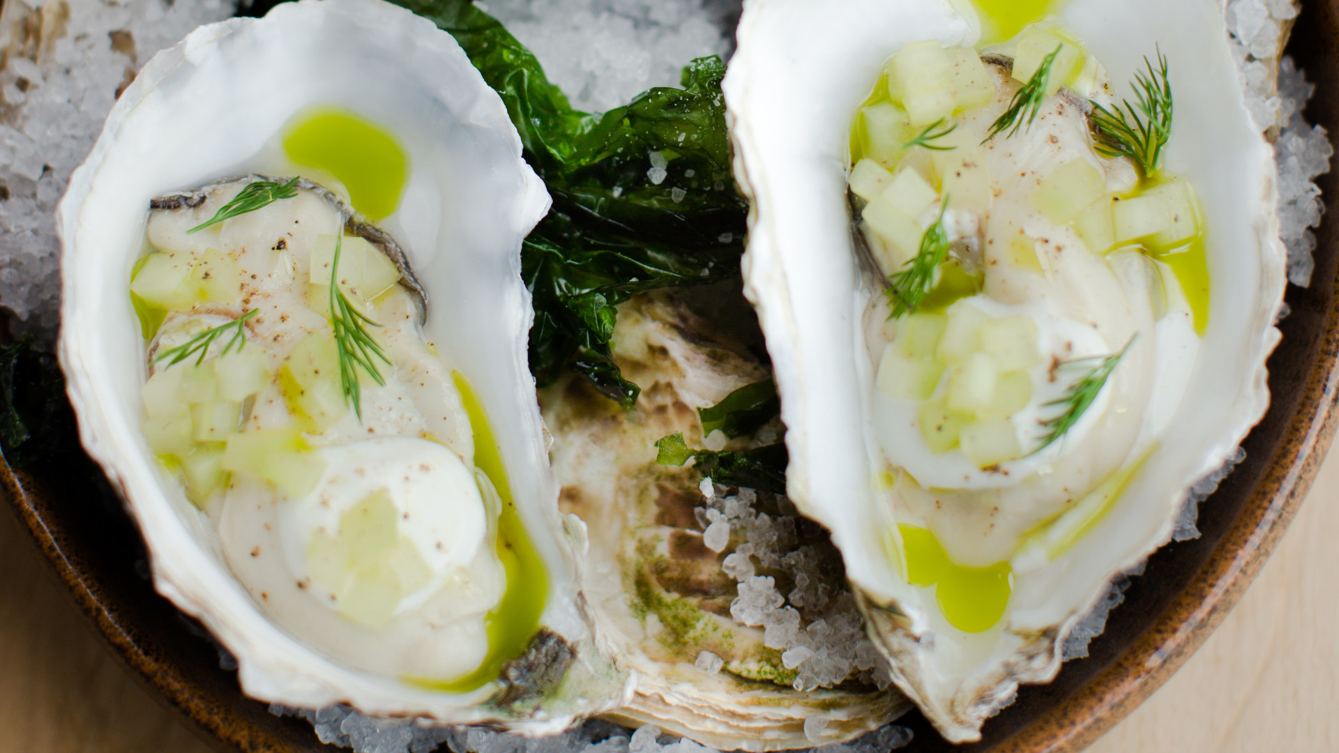 Pickled oysters, celery, dill and horseradish cream