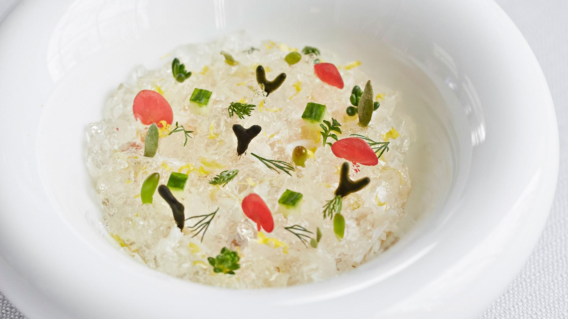 Crab and elderflower jelly