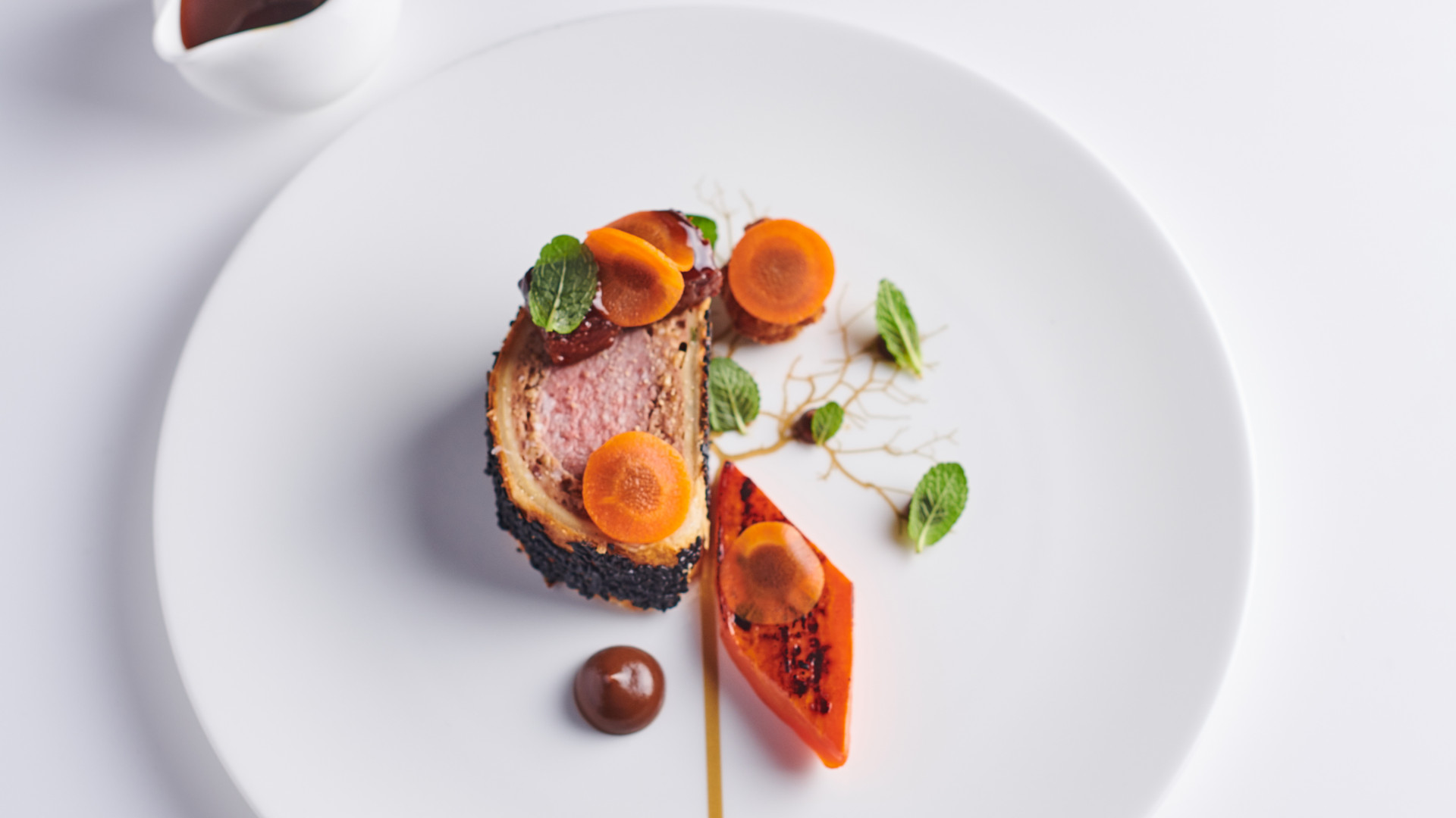 Lamb Wellington, carrot, mint