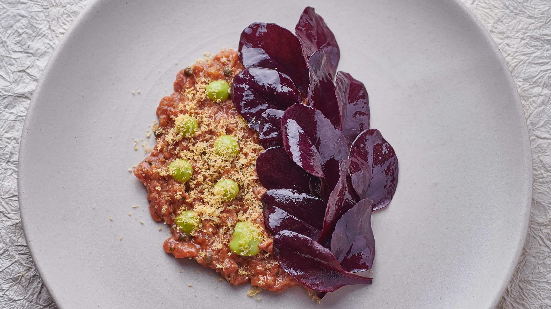 Spiced beef tartare, lovage, amaranth