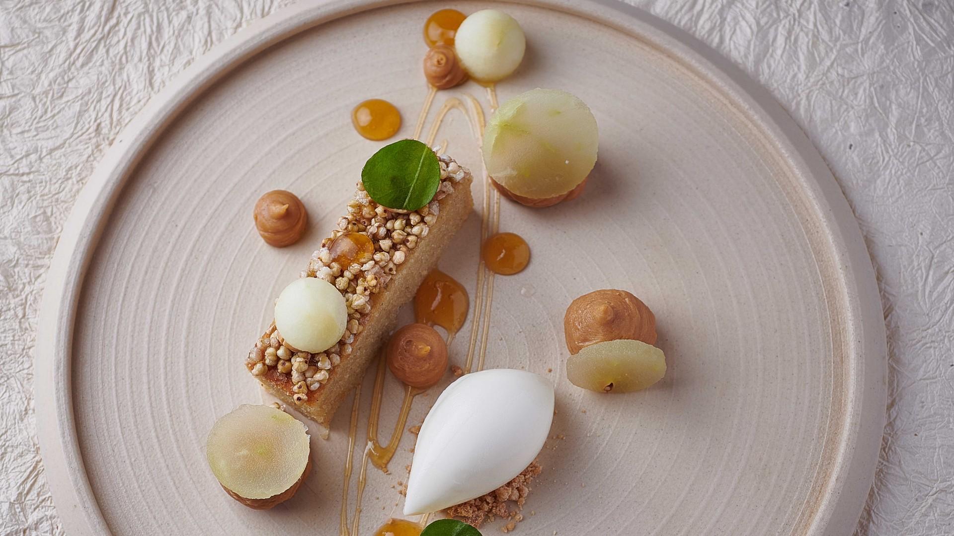 White chocolate sorbet, buckwheat cake, apple