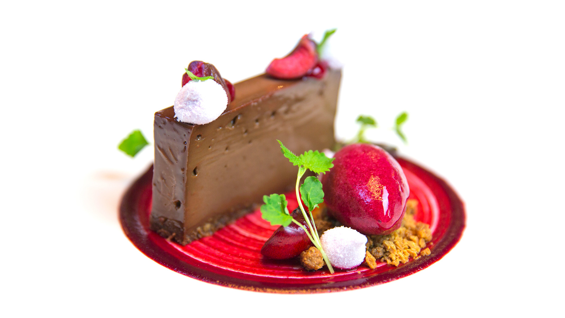 Valrhona chocolate pave, macerated cherries, caramelised white chocolate