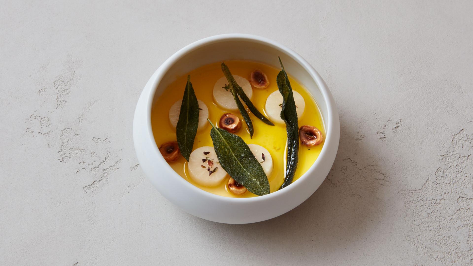 Warm hay custard, Jerusalem artichoke soup