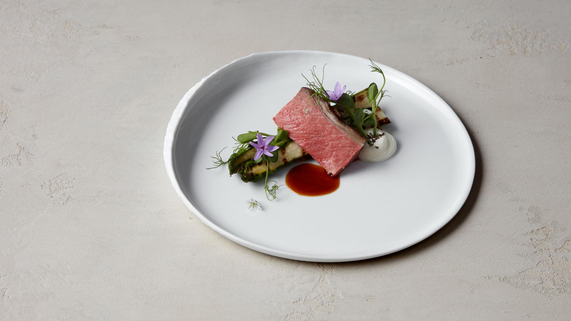 Herdwick lamb, green asparagus, savoury pine nut praline