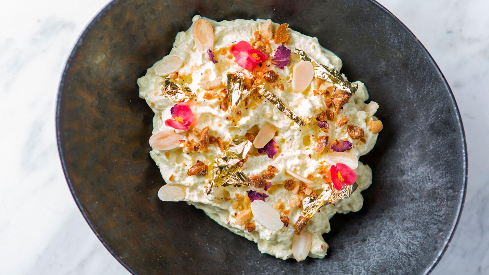 Makhan malai, saffron milk, rose petal jaggery brittle, almonds