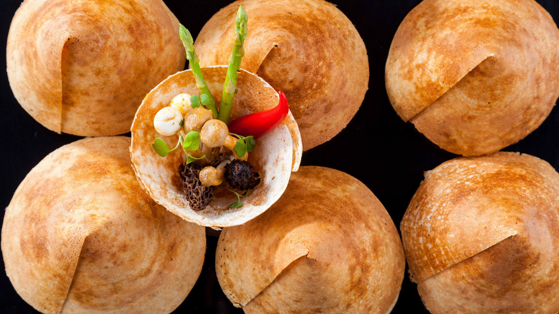 Masala wild mushroom, water chestnut, paper roast dosai