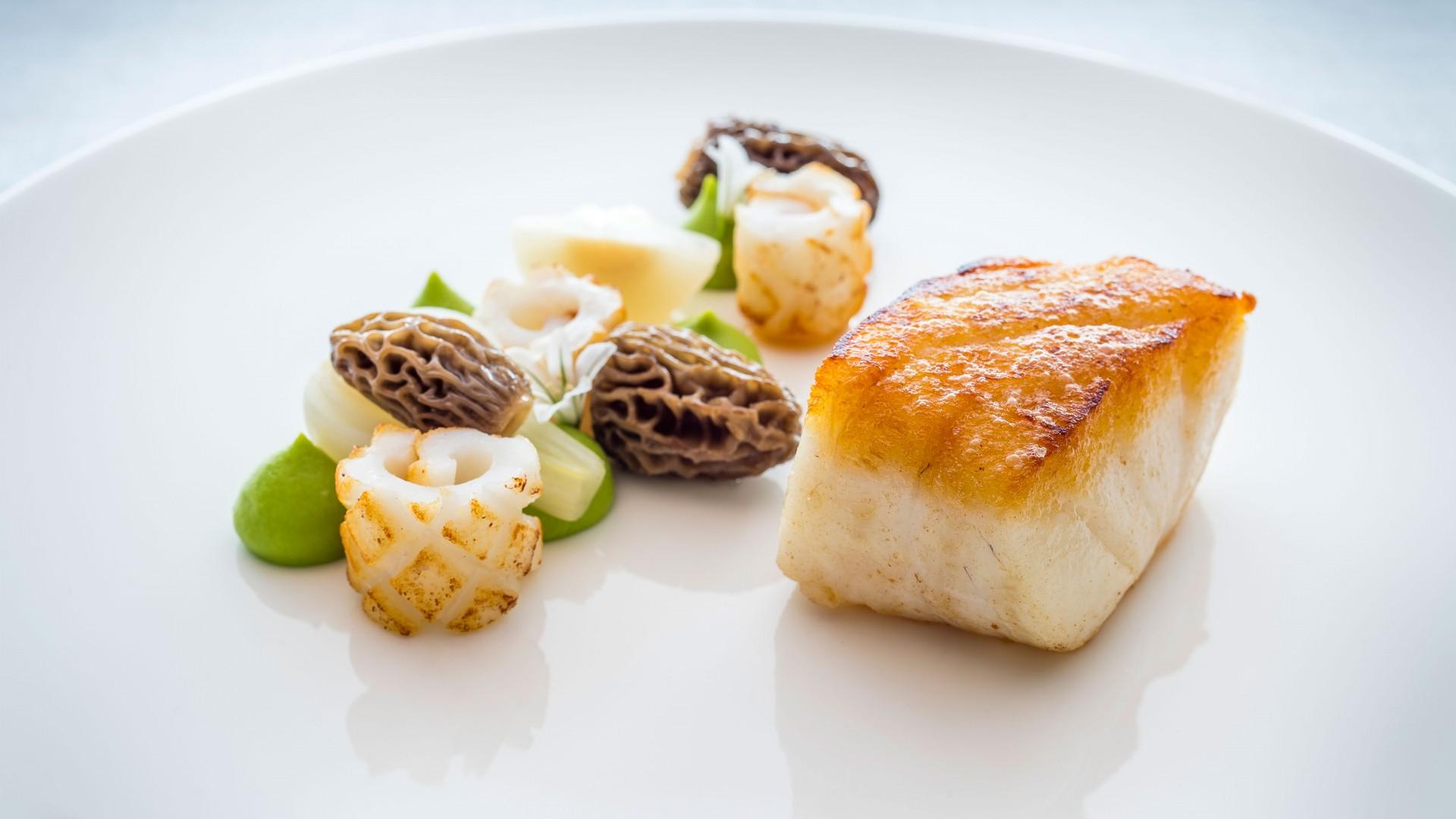 Newlyn cod, new seasons garlic, Turkish morels, line-caught squid