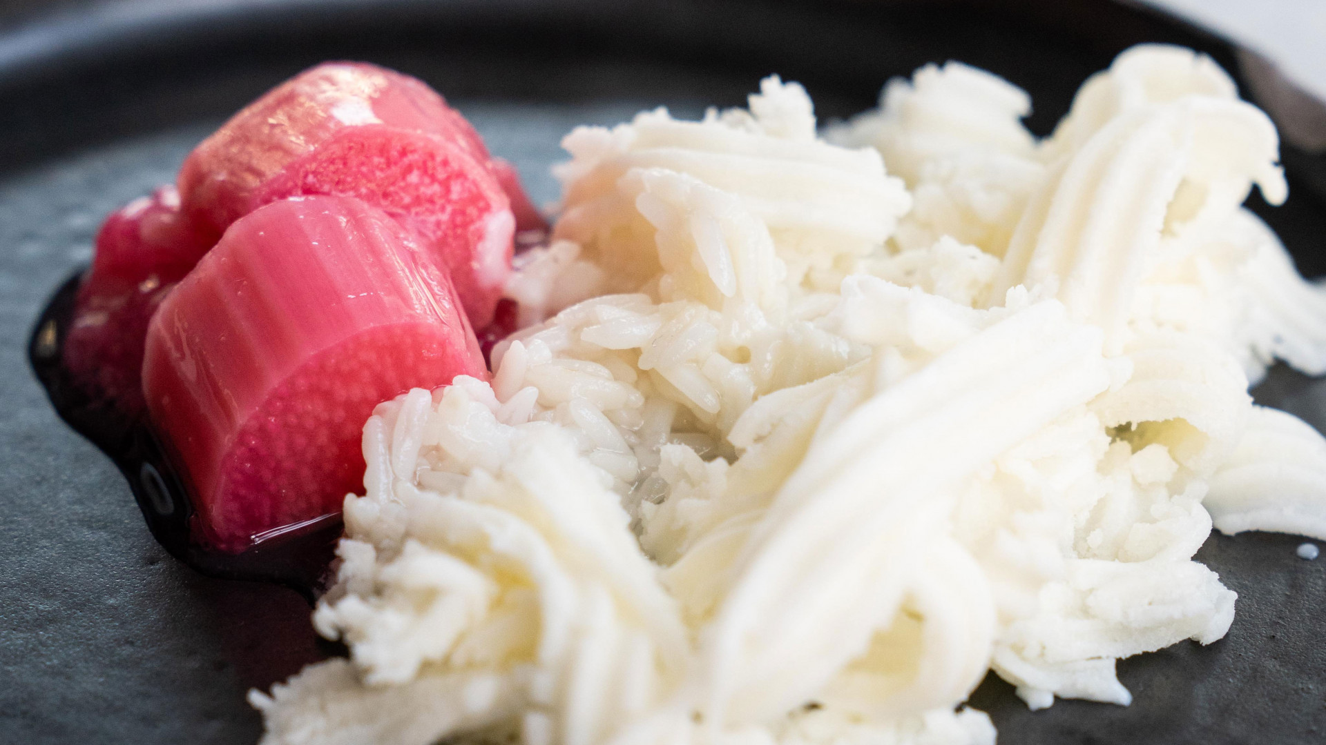 Rhubarb and fermented rice cream