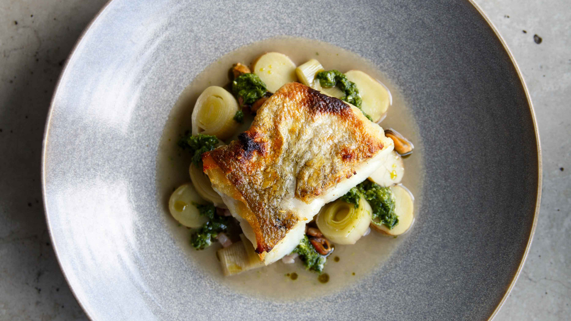 Cod 'chowder' with mussels, leeks, bacon and lovage