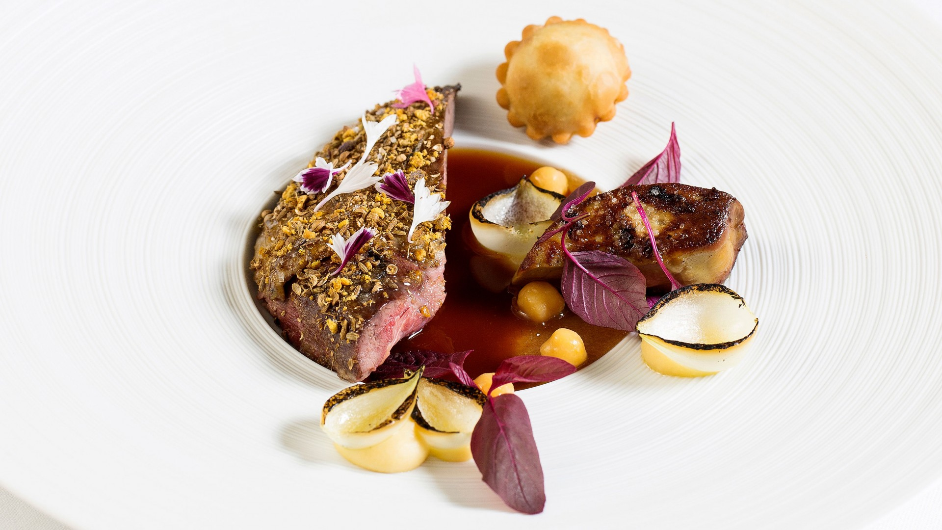 Grouse Burnside Farm, ras el hanout, foie gras, chickpea, dates