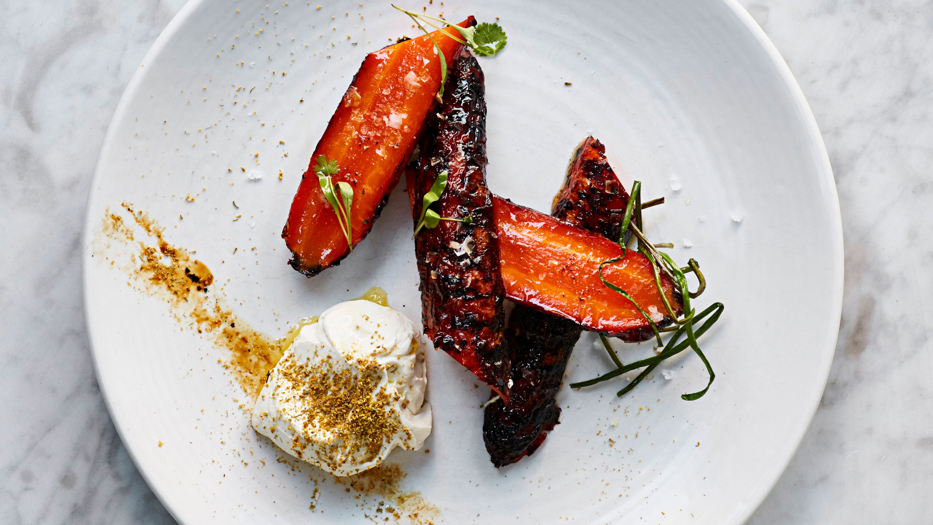 Burnt carrots, greek yoghurt and tahini with fennel pollen