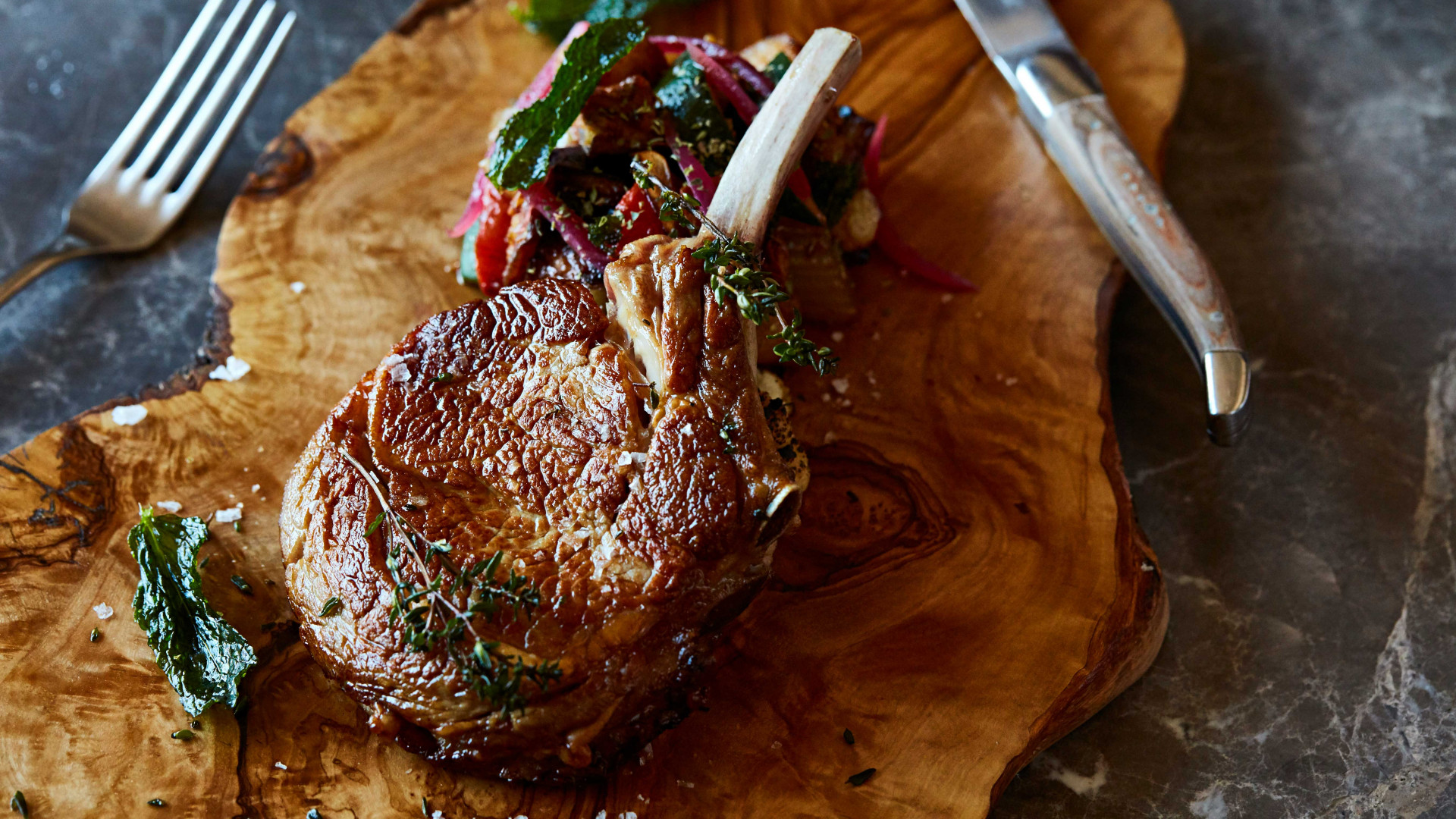 Grilled veal cutlet and Sicilian vegetable caponata