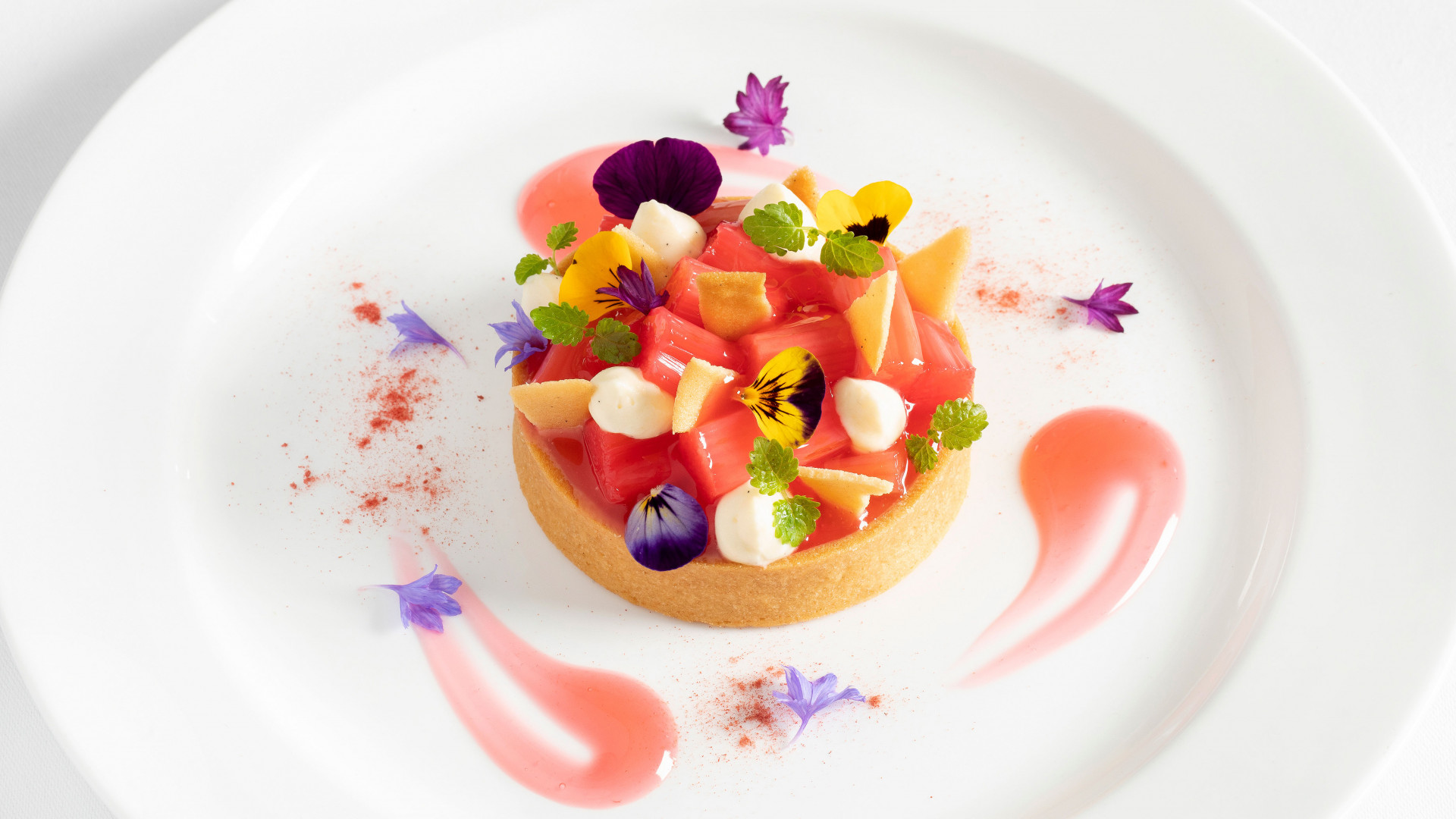 Rhubarb and custard tart at The Ivy