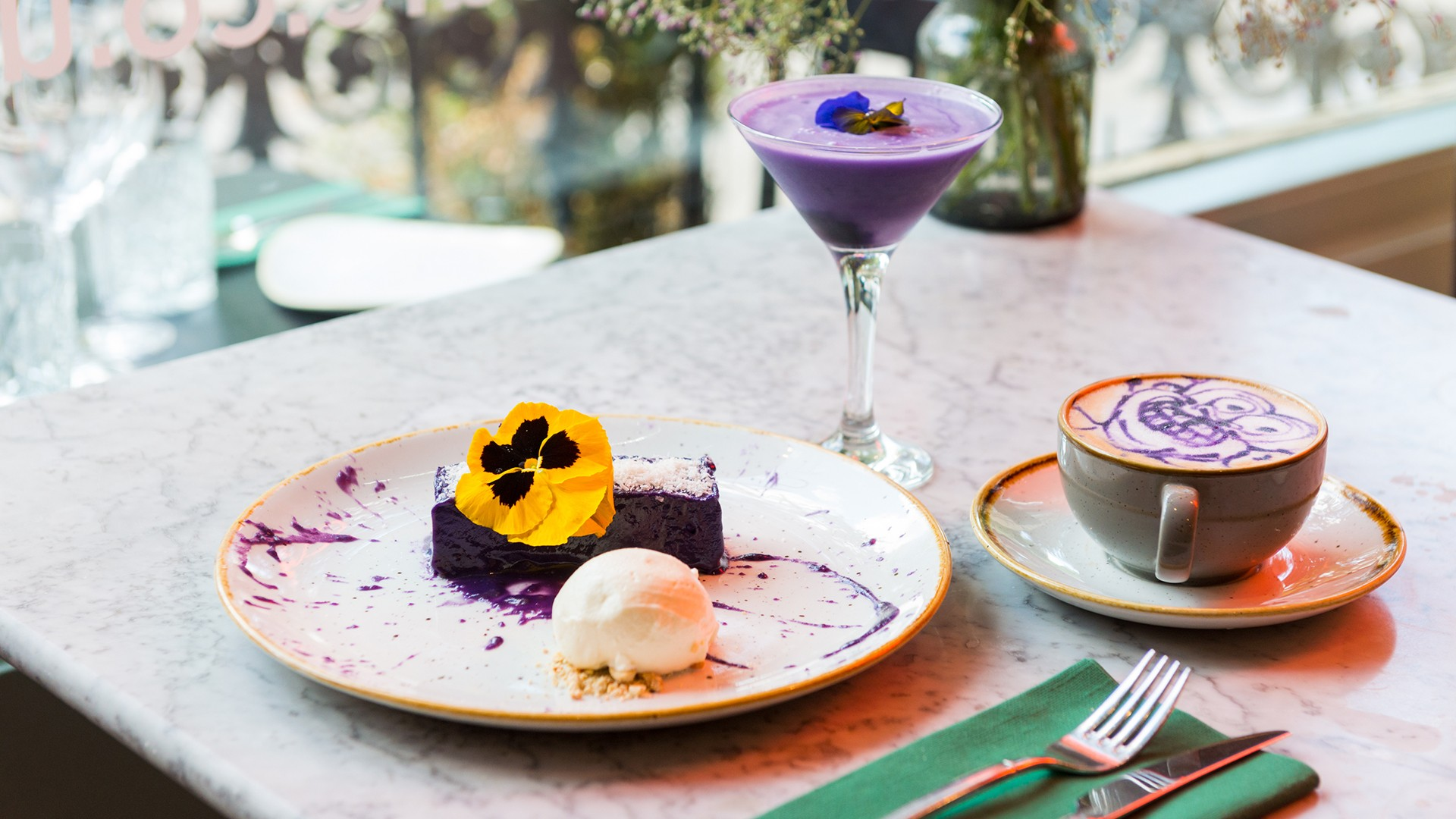 Ube cheesecake at Romulo Cafe
