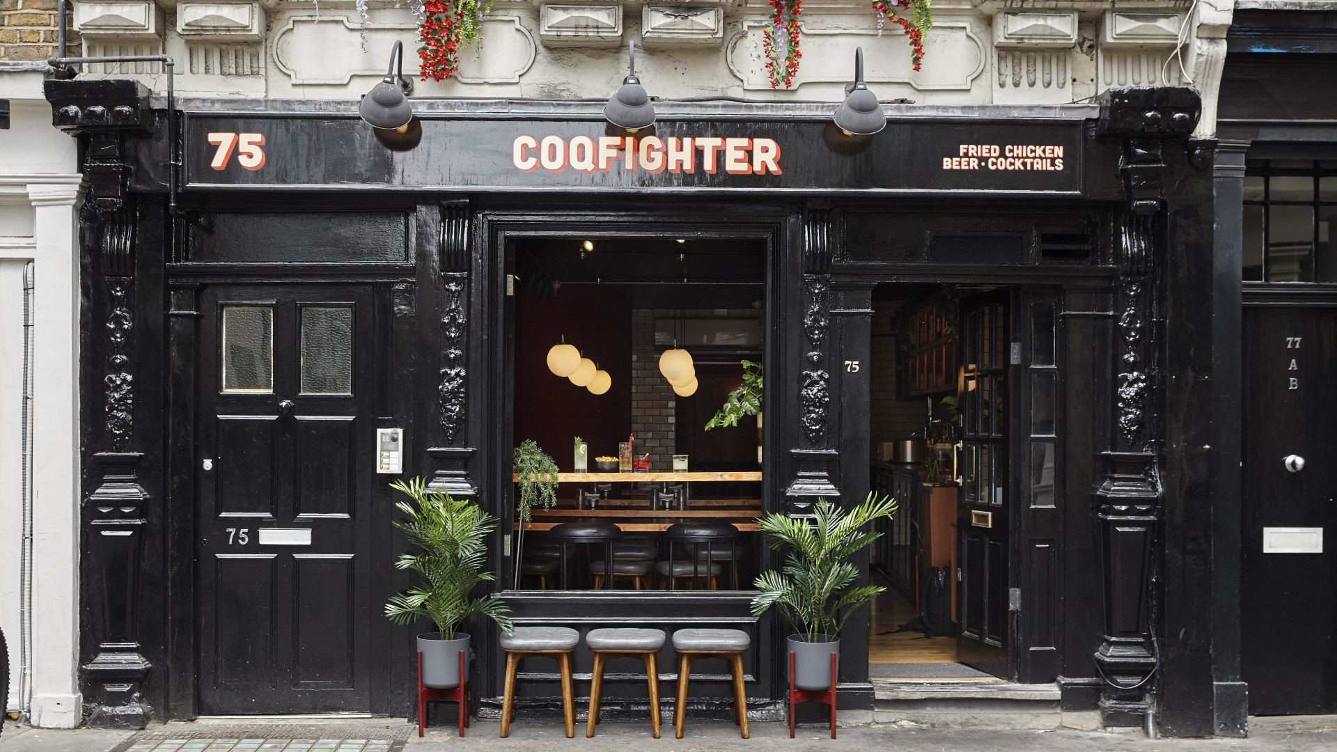 The exterior at Coqfighter in Soho
