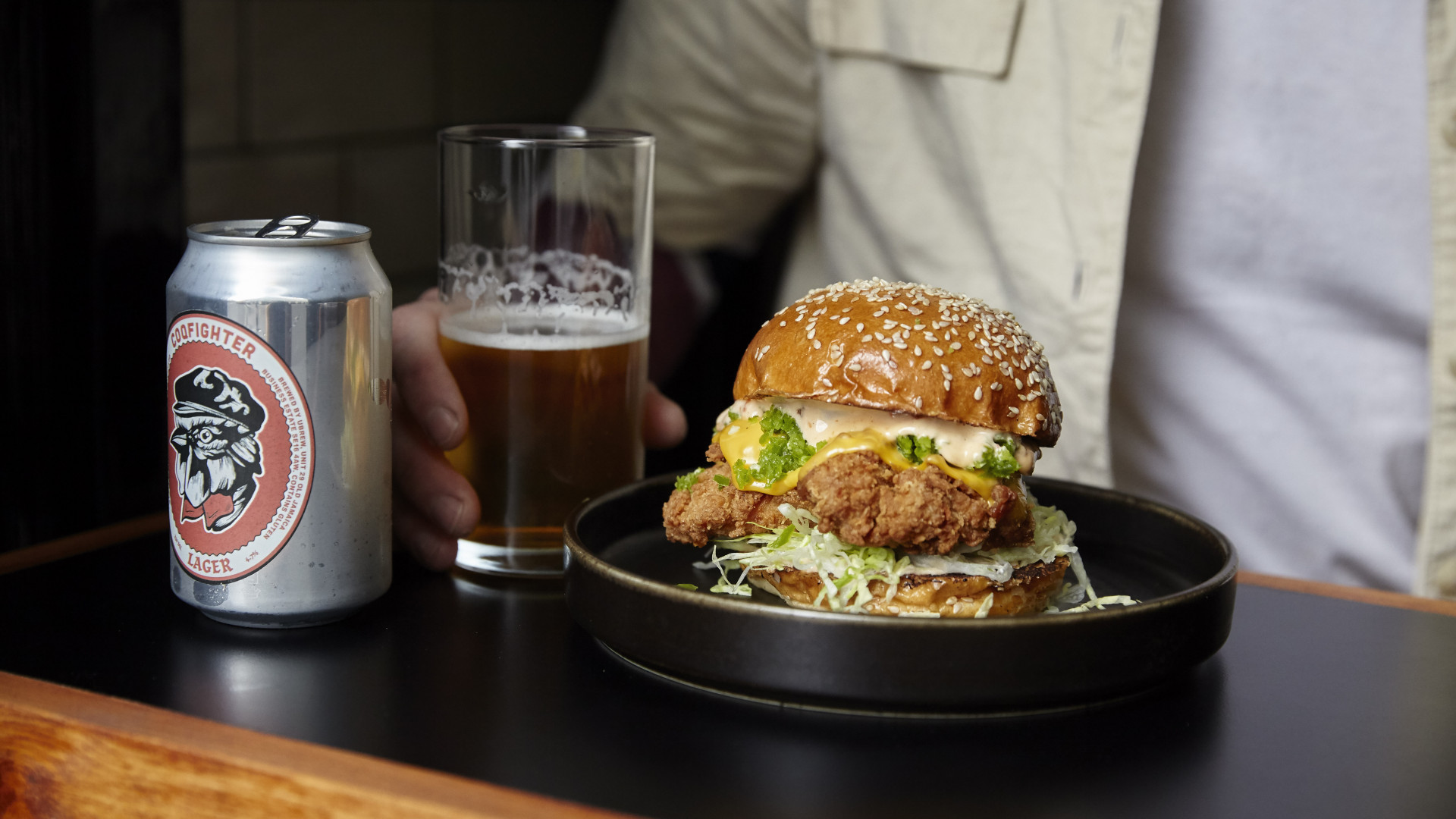 A burger from Coqfighter in Soho