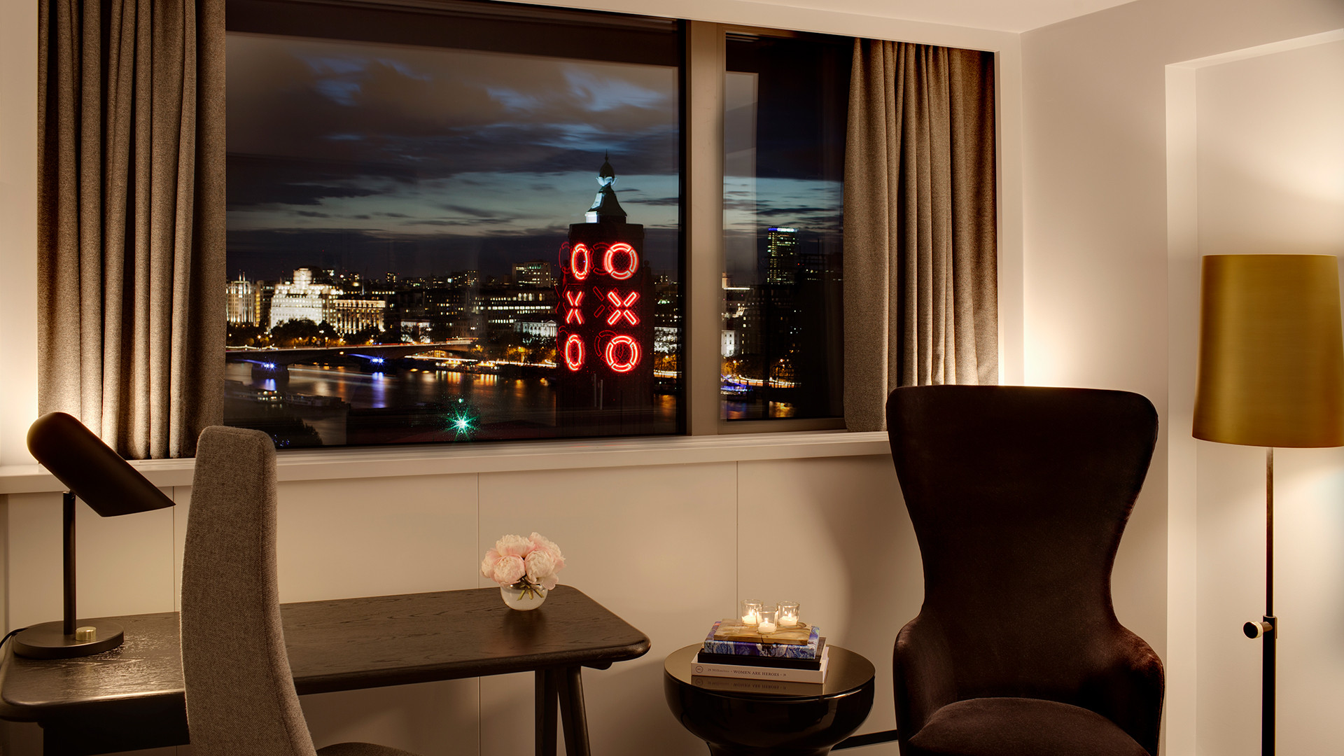 Sea Containers London superior bedroom at night