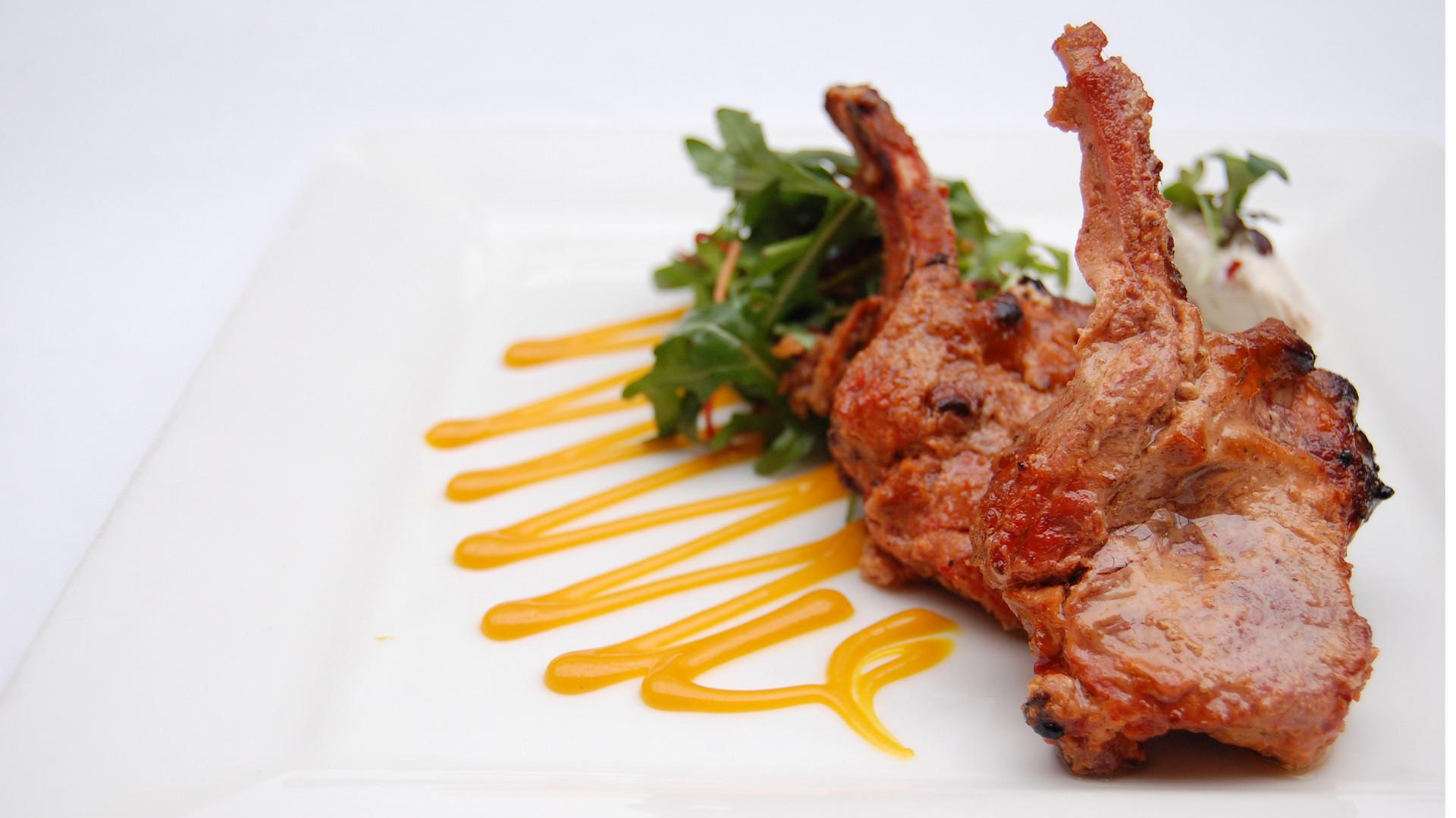 Clove smoked lamb chops with garlic yoghurt at Babur