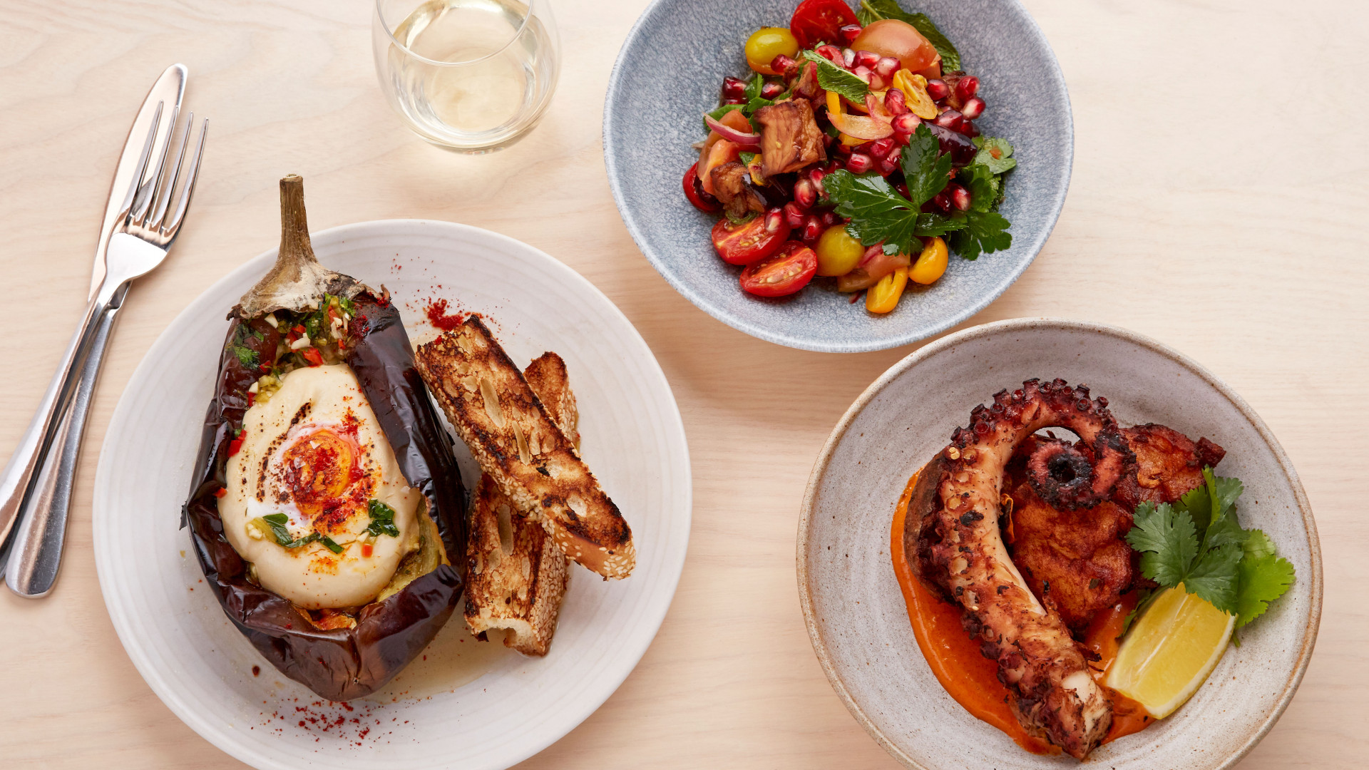 Honey & Smoke: smoky aubergine, octopus and fattoush salad