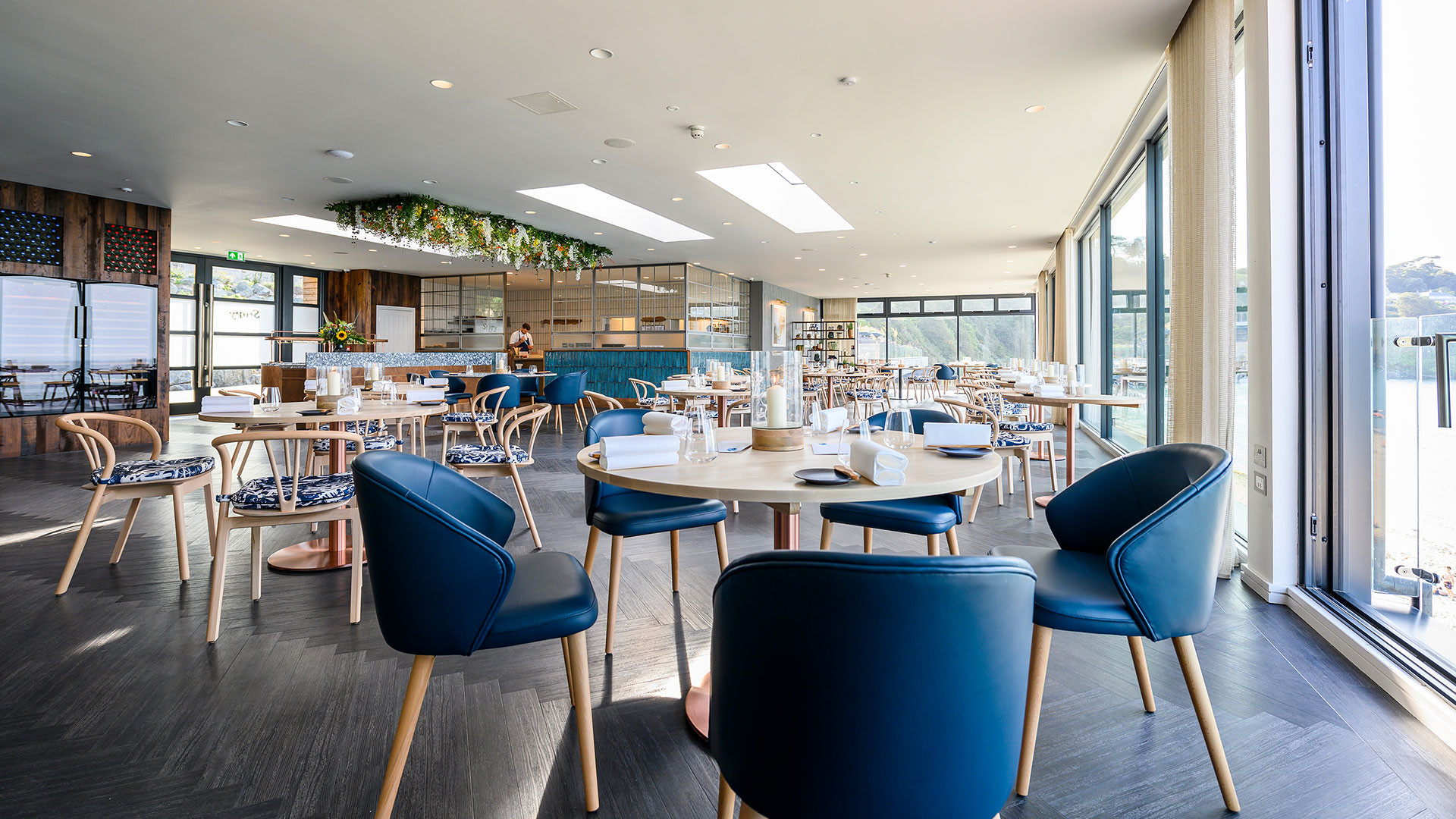 The dining room at Story by the Sea in Cornwall