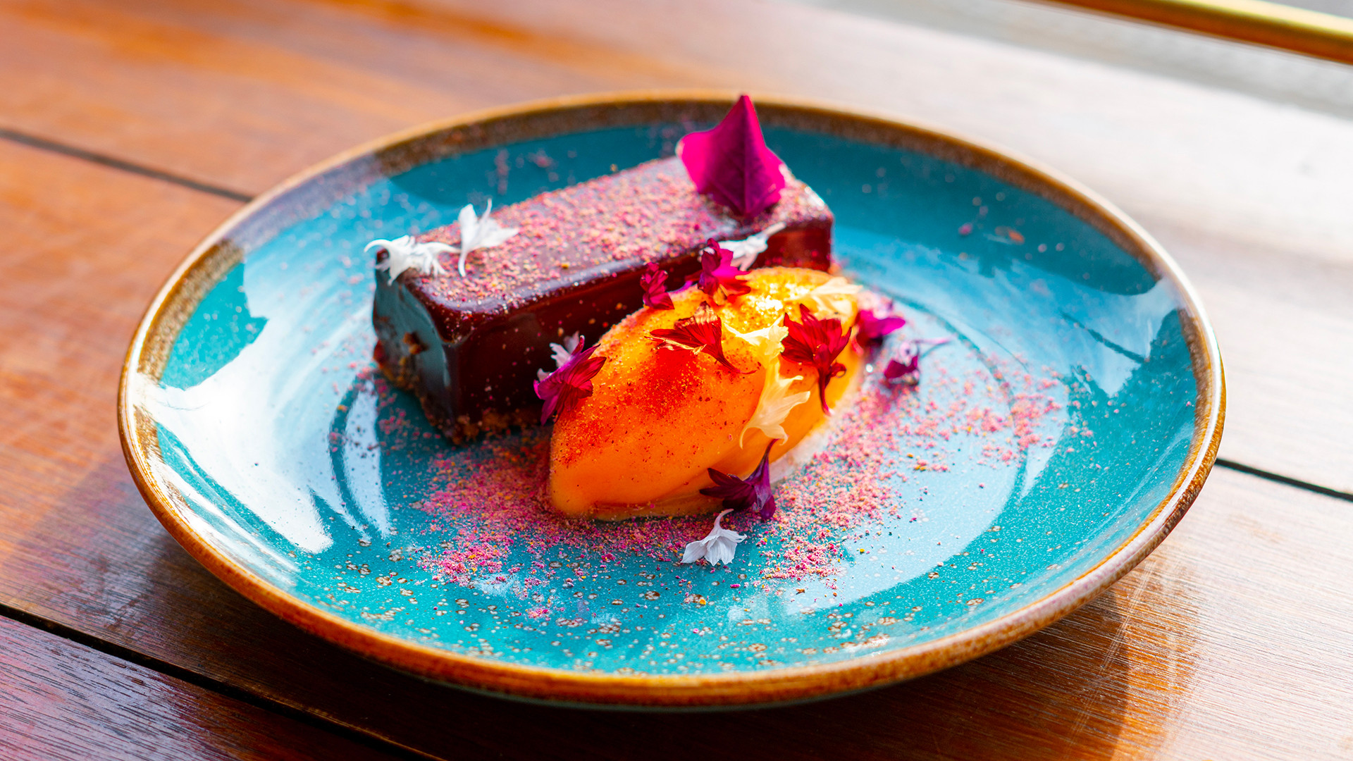 Moio, Clapton: restaurant review – chocolate and lavender tarte with melon and lime sorbet