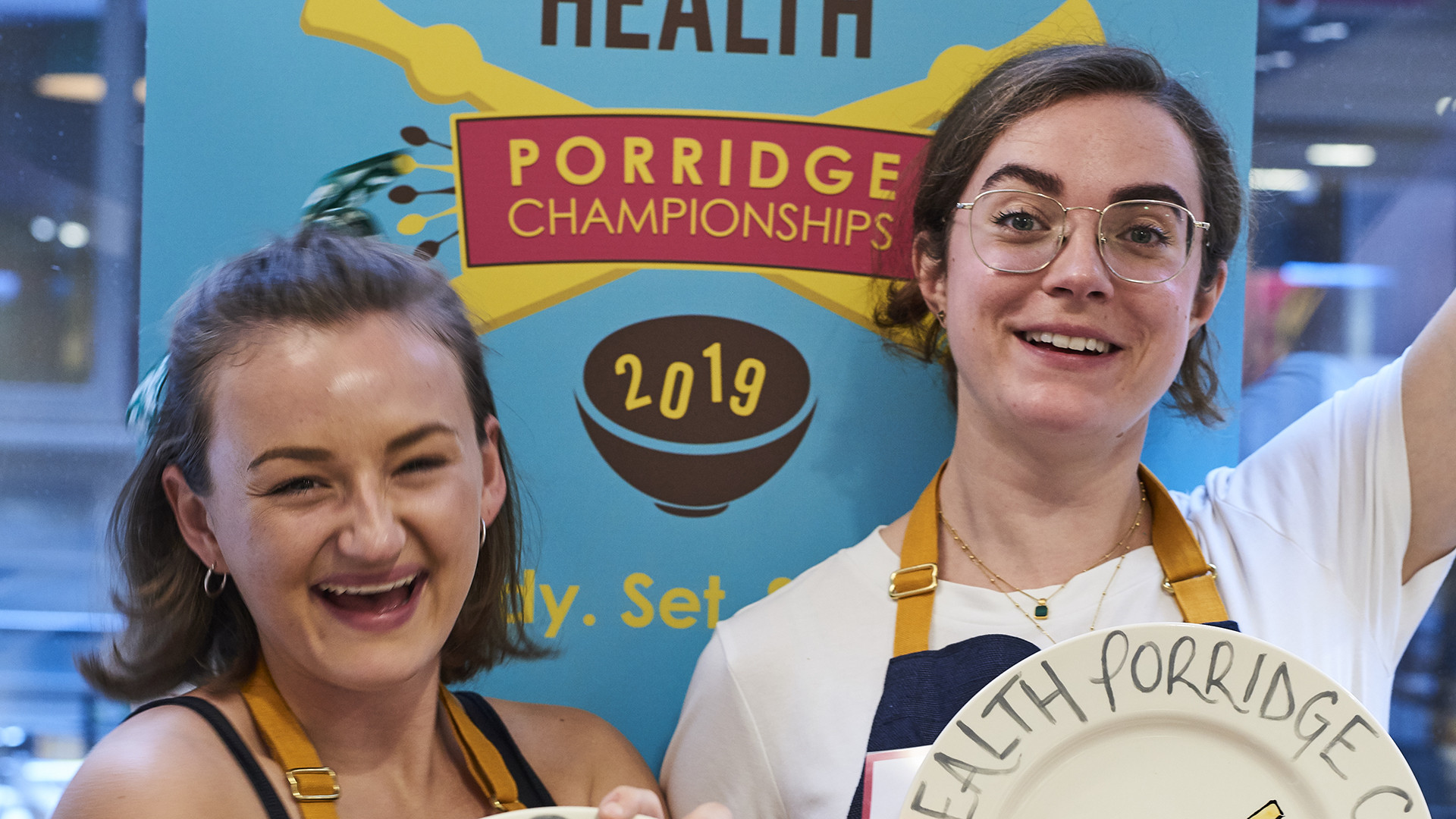 This year's Rude Health Porridge Championship winners and Foodism staffers, Ally and Lydia (L-R)