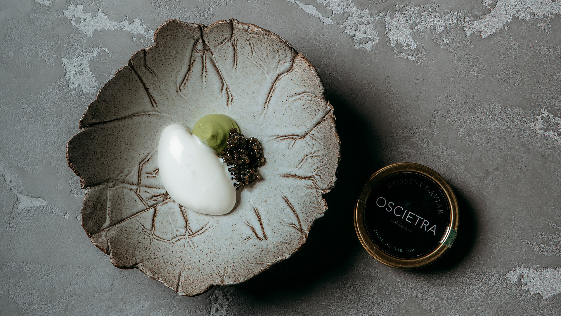 Avocado, burnt cream ice cream, oscietra caviar at Da Terra