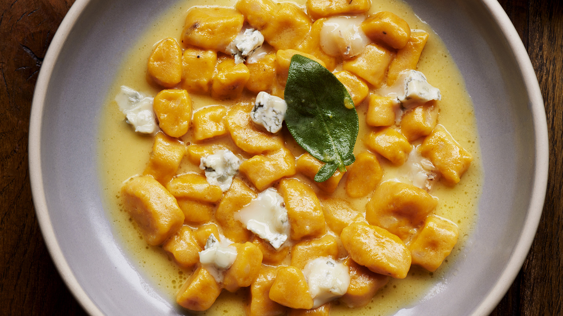 Pumpkin gnocchi with brown butter, sage, and gorgonzola at Officina 00