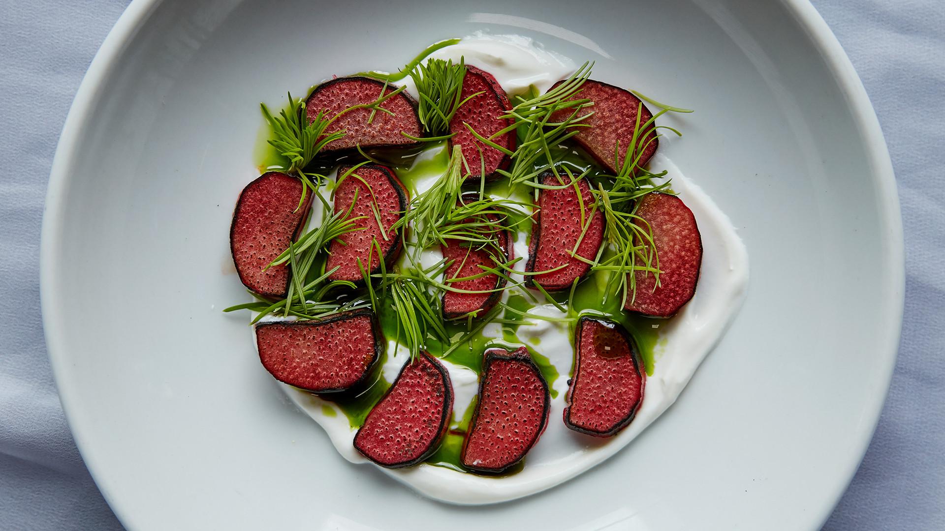 Rhubarb, fresh spruce and yoghurt at Silo