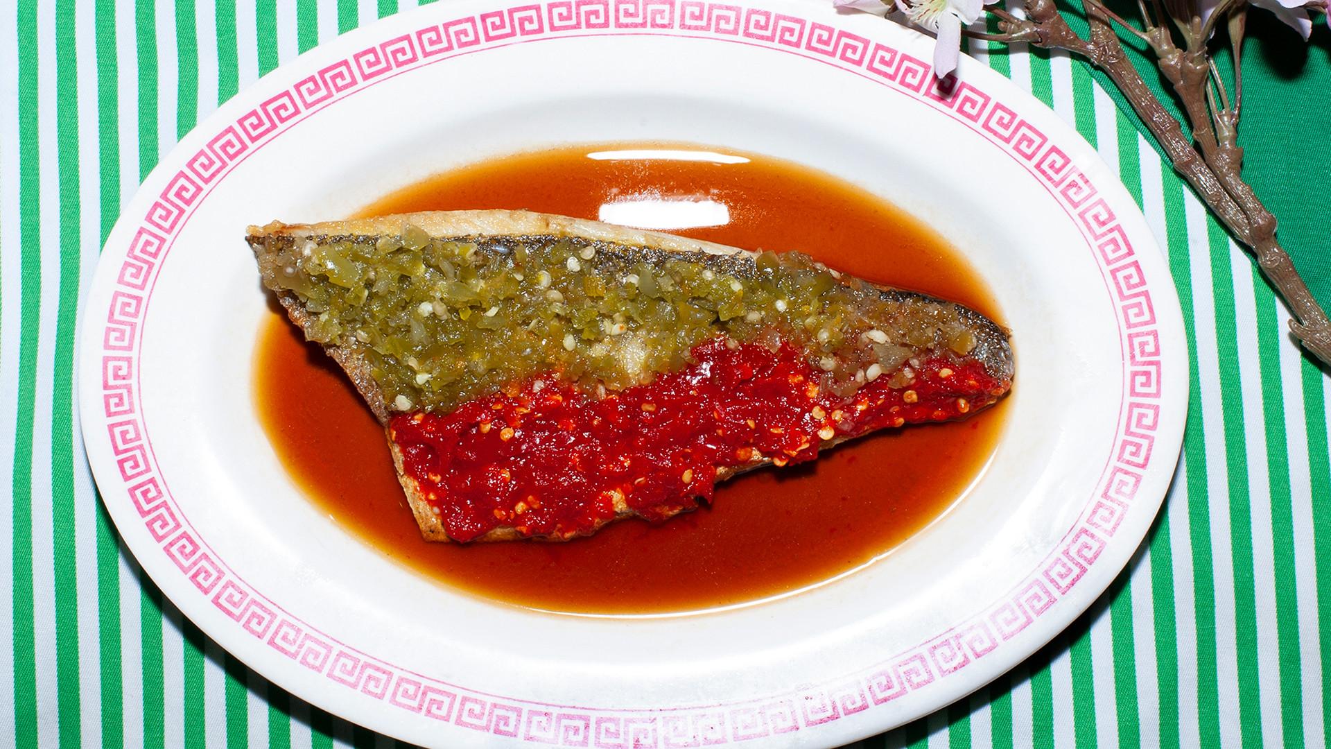 Chilli sea bass at Lucky & Joy