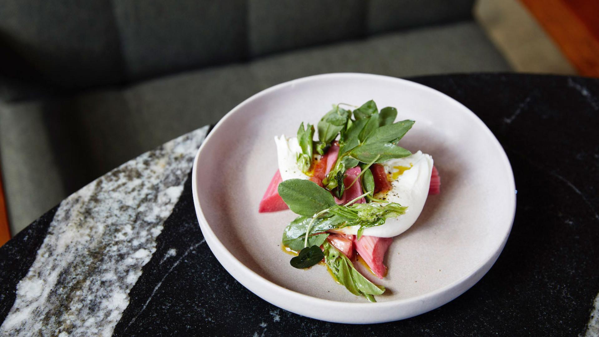 New London restaurant openings | The Light Bar's burrata, rhubarb, broad bean tops