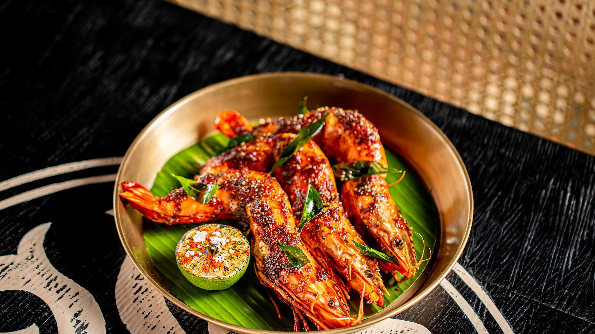 Best places to eat and drink in King's Cross: BBQ black pepper and curry leaf prawns