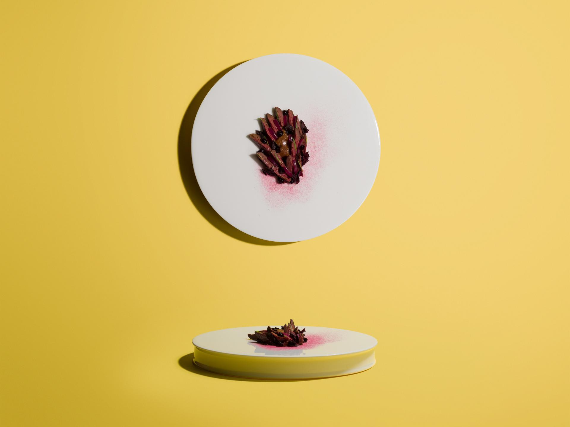James Knappett, Kitchen Table, Duck hearts, damson, burnt cream