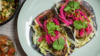 Steak tacos at Corazón