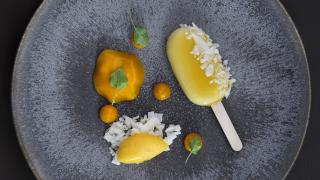 Solero with coconut and clementine