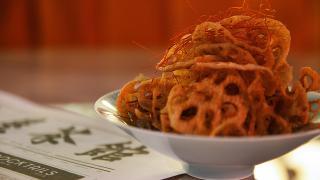 Deep fried lotus crisps from the Tea Room, Soho