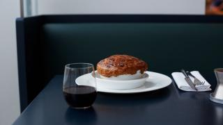 Lamb pie and red wine from Parabola at the Design Museum