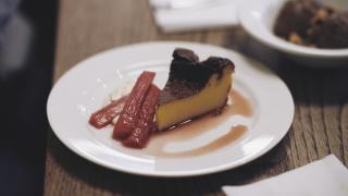 Rhubarb and vanilla tart at Brat in Shoreditch