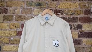 Beavertown x M.C. Overalls oatmeal polycotton skull snap shirt