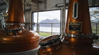 The view from the still room at Raasay Distillery in Scotland