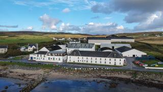 Aerial view of Bruichladdich whisky distillery in Islay, Scotland