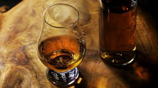 A crystal nosing glass for scotch whisky