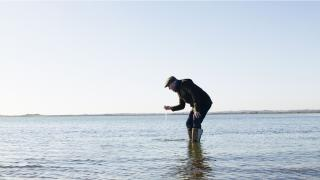 Steve Osborne testing the water