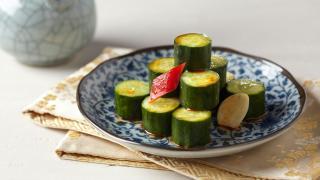 Cucumber dressed in garlic and chilli oil