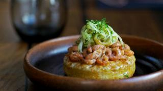 Potted shrimp crumpet from Cornerstone