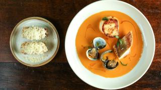 Fish stew and croutons