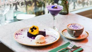 Ube cheesecake at Romulo Cafe